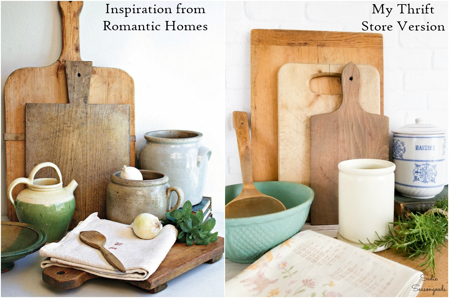Thrift store home decor for a French farmhouse kitchen