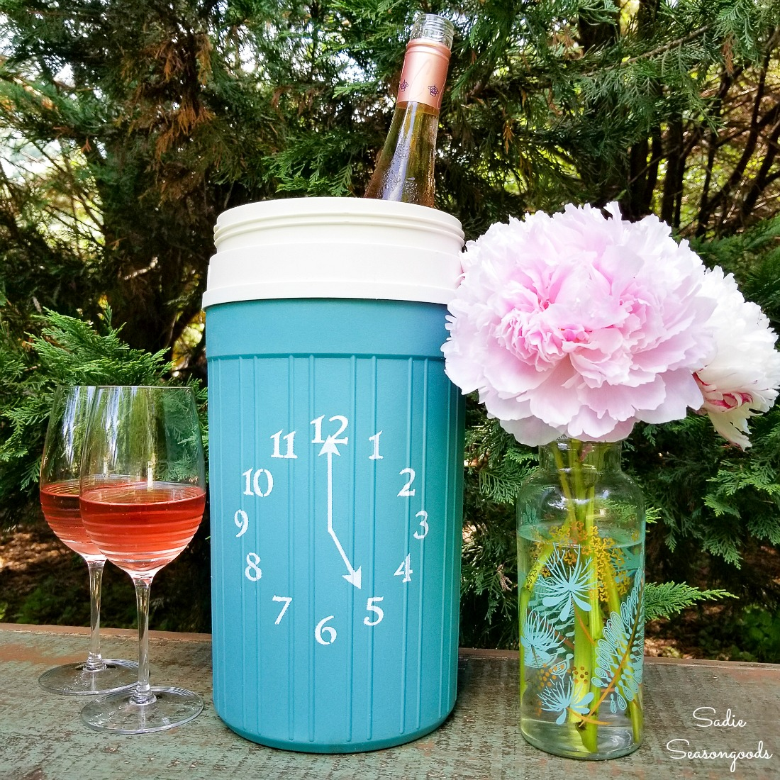 Wine bottle cooler for a patio happy hour from an Igloo beverage cooler
