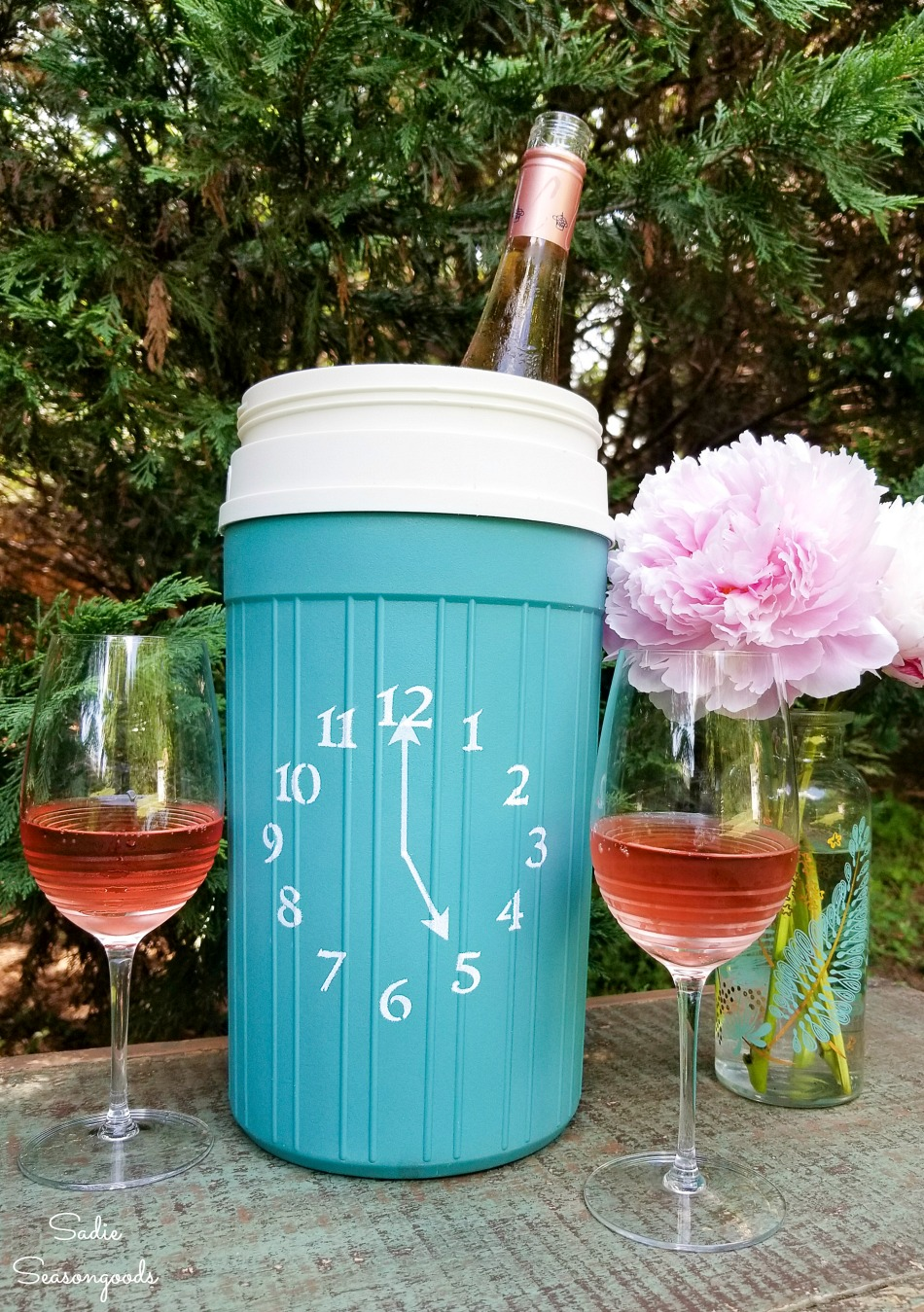 Wine bucket or wine chiller from an Igloo beverage cooler