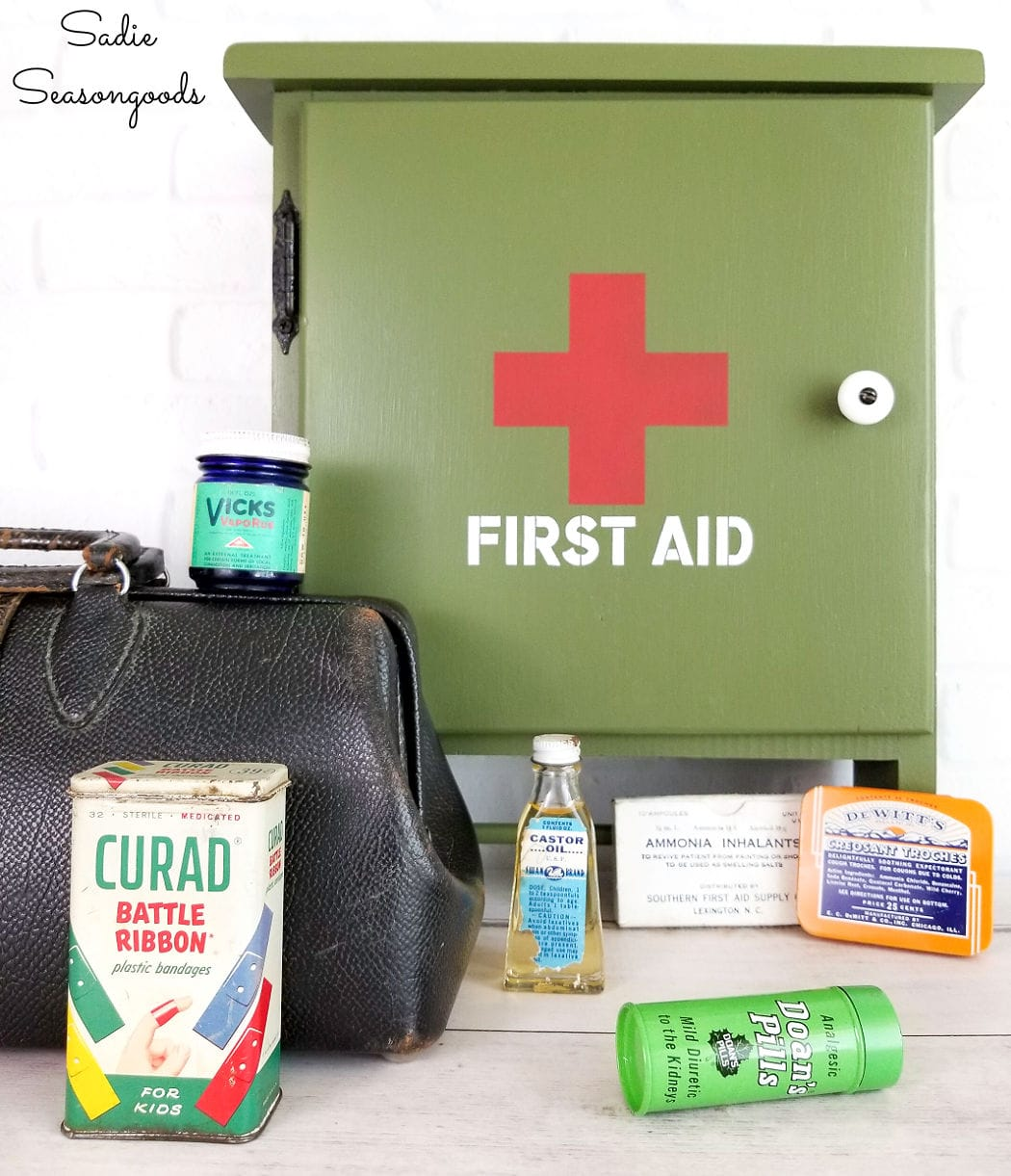 first aid cabinet and military decor