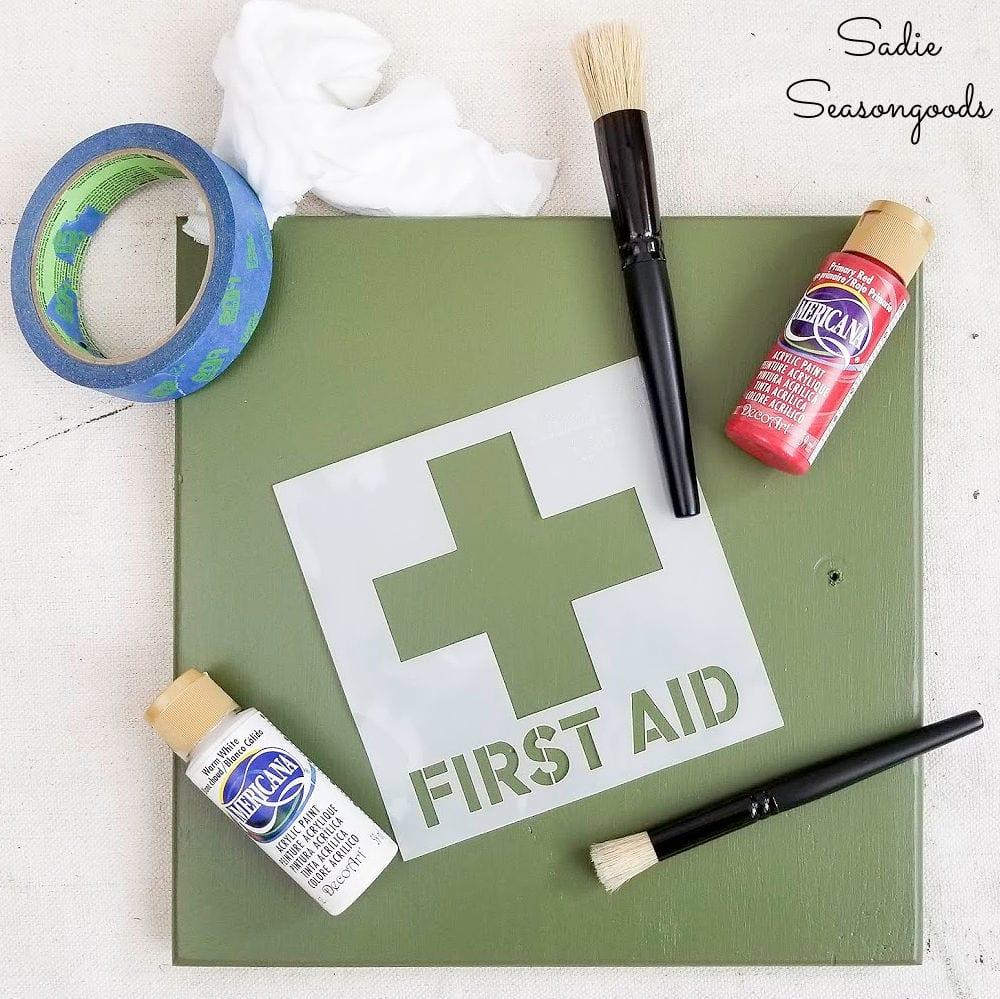 first aid stencil for a garage first aid kid
