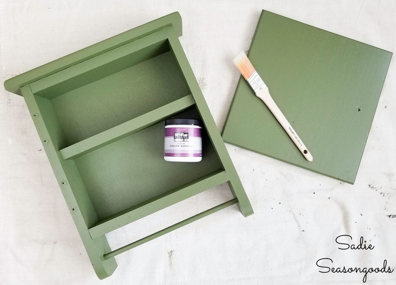 painting a first aid cabinet in army green