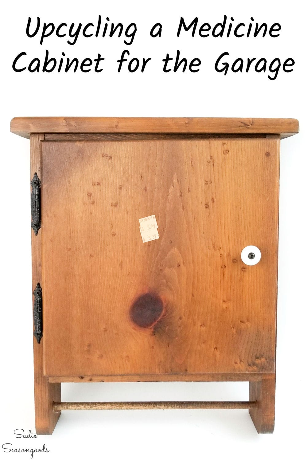 upcycling a wooden medicine cabinet for the garage