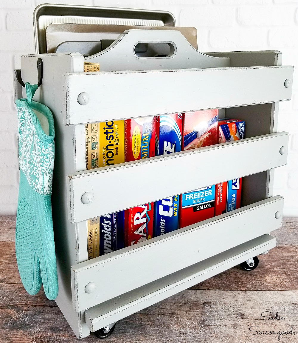Farmhouse Kitchen Storage with a Kitchen Caddy from a Magazine Rack