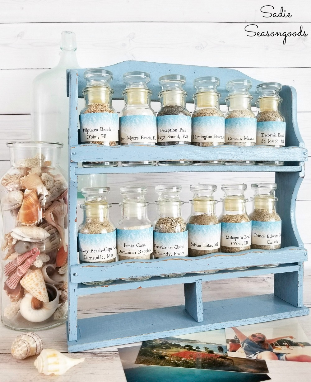 Repurposing a vintage spice rack to hold and display a sand collection