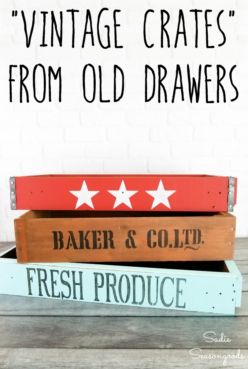 Rustic wooden crates by upcycling the drawers from a thrift store