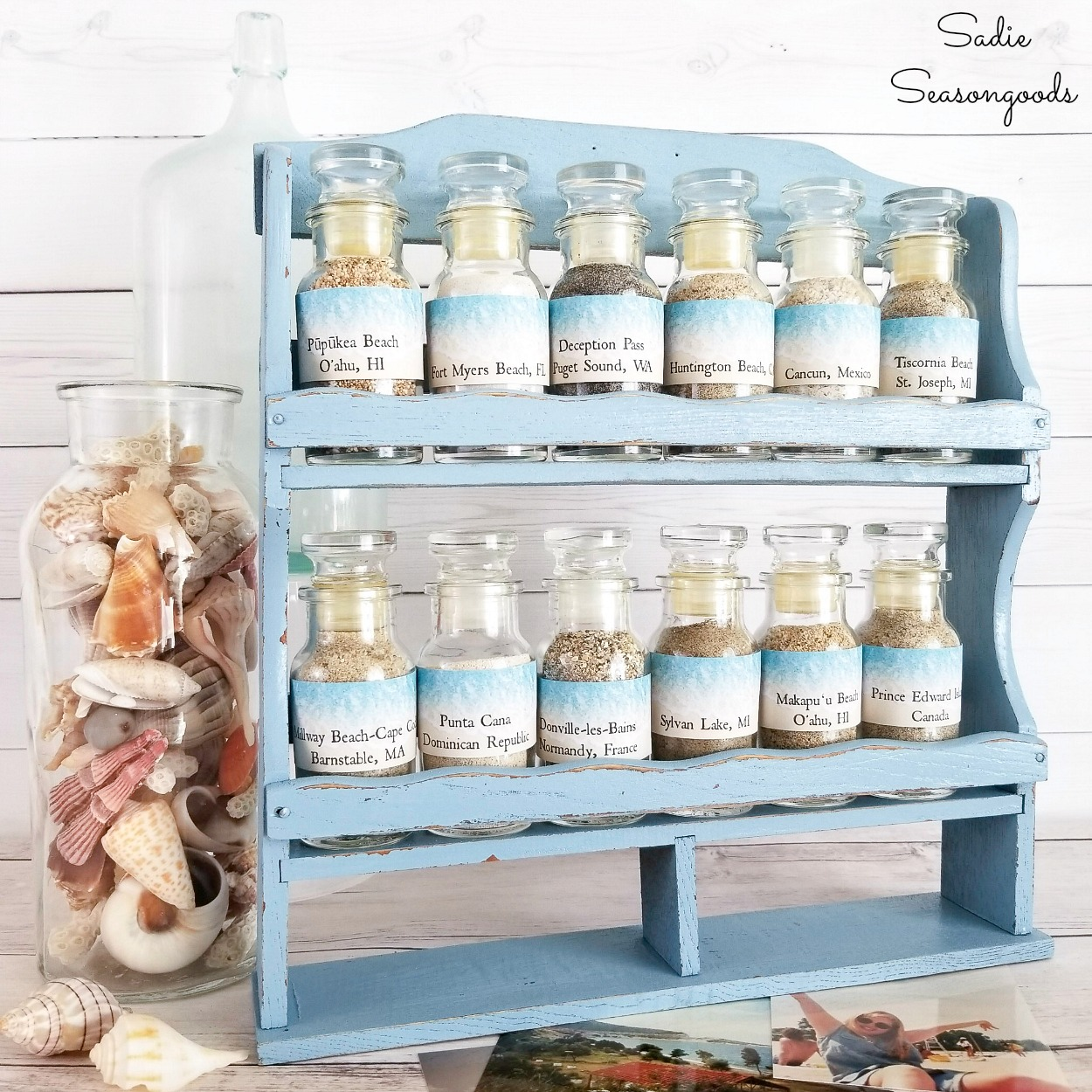 Sand Collection Display in a Vintage Spice Rack