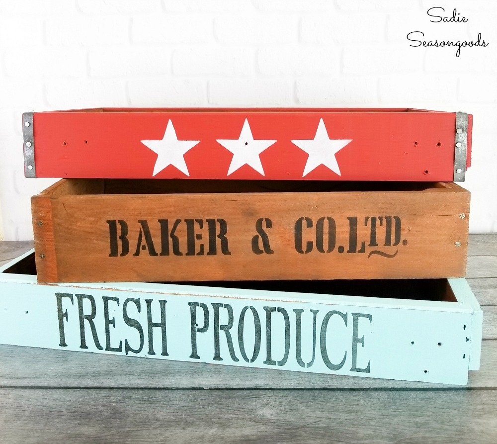Upcycling idea for old drawers as farmhouse crates
