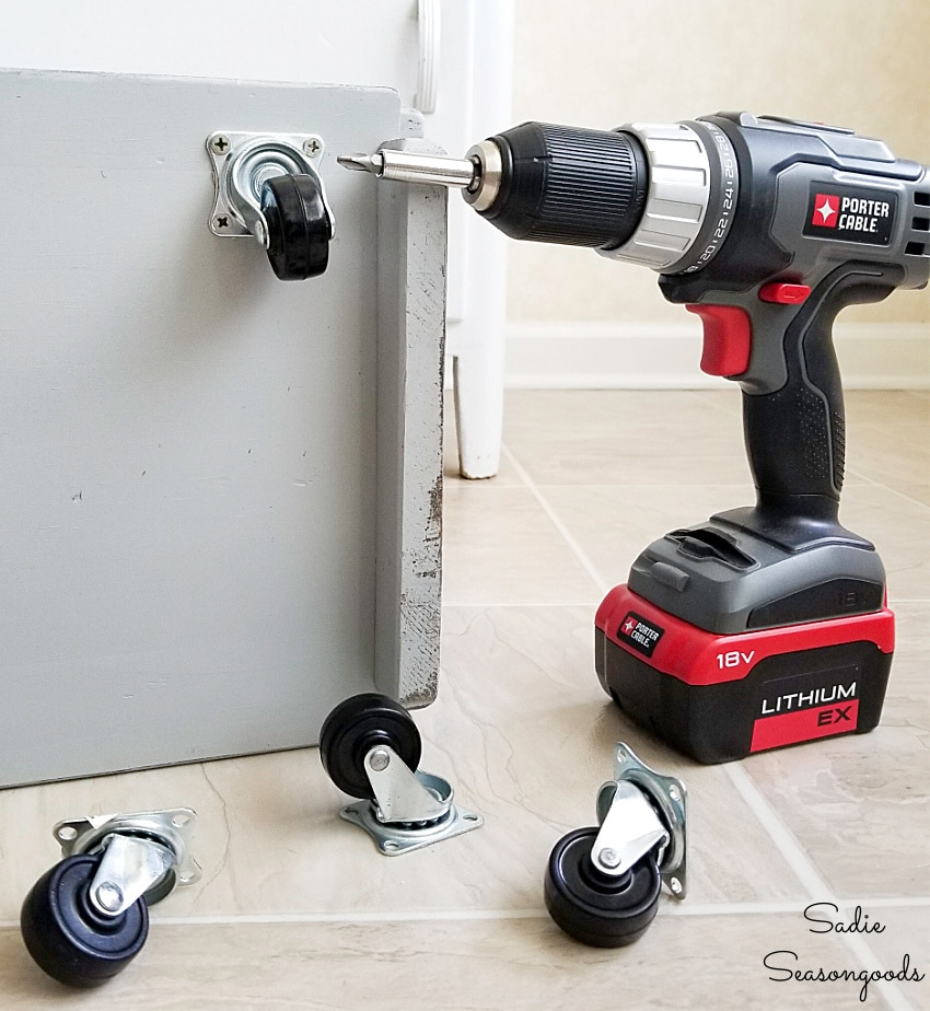 Attaching wheels to a kitchen caddy