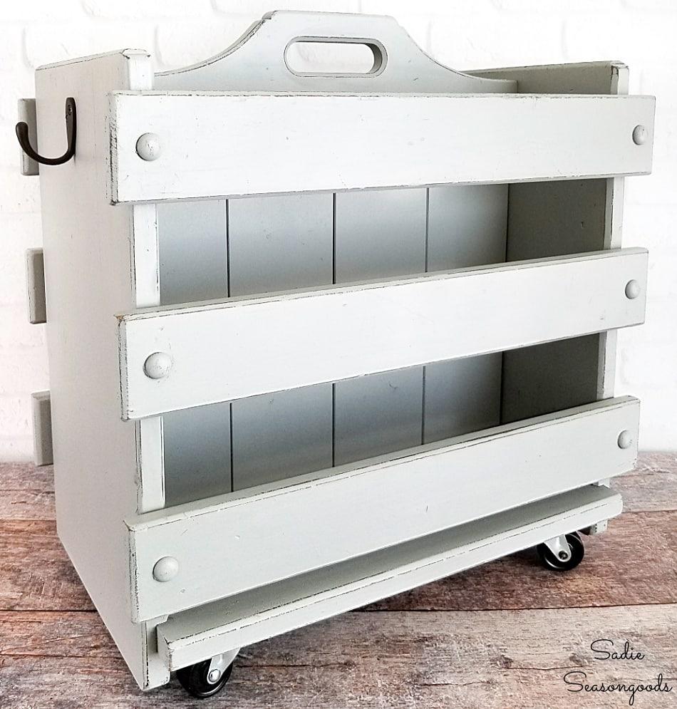 Baking pan storage in a wooden magazine holder