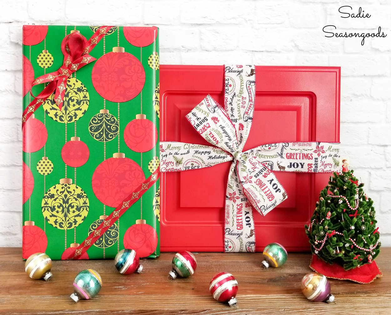 cabinet doors as decorative gifts for a christmas mantel