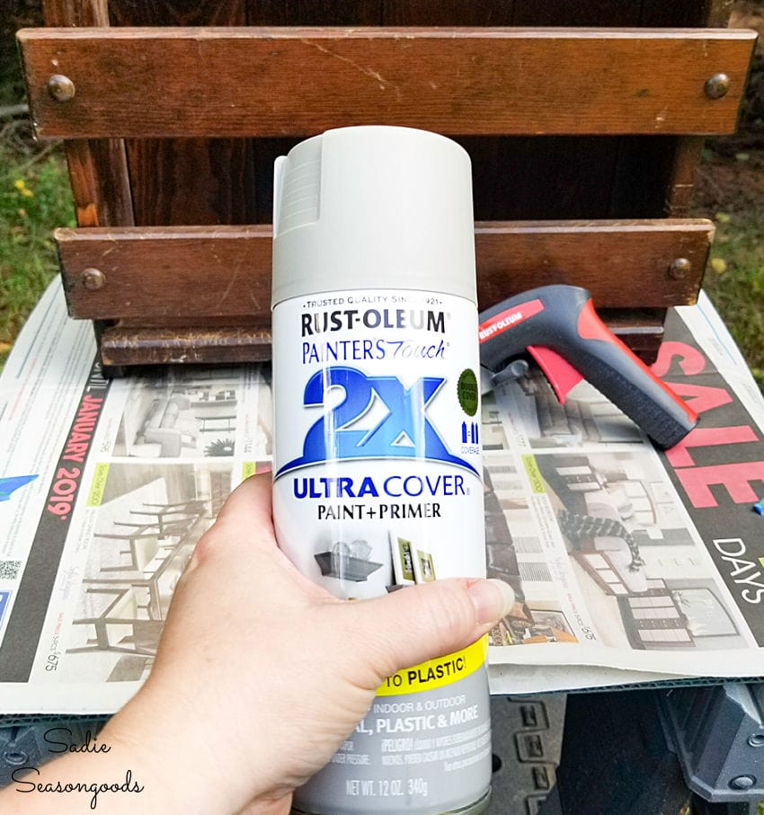 Spray painting a kitchen caddy