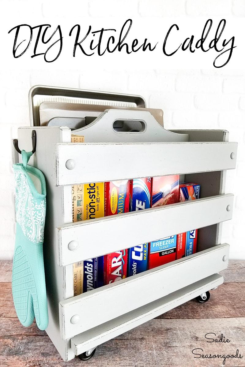 Wooden magazine holder as a baking sheet organizer