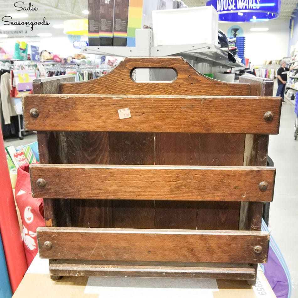 Wooden magazine holder at Goodwill