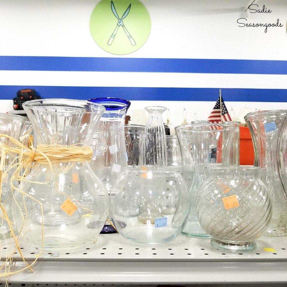 Glass vases and glass bowls at a thrift store