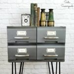 Industrial Bedside Table or End Table from VHS Storage Cases