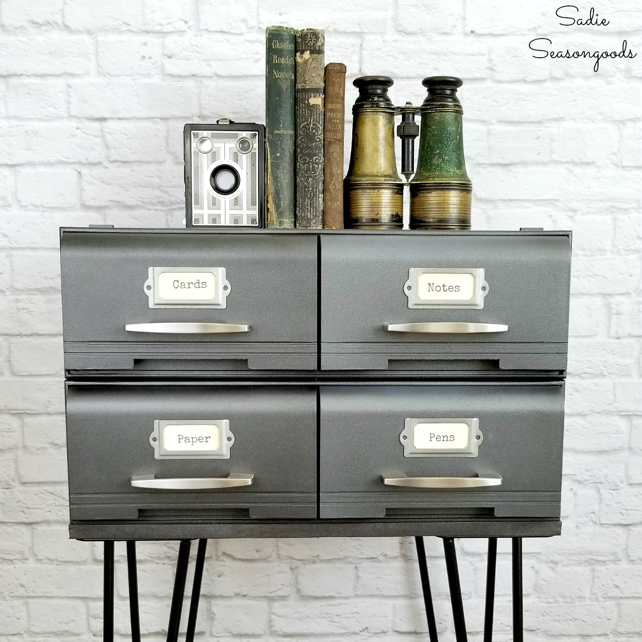 Industrial bedside table or modern industrial furniture that started as VHS storage or cassette tape storage