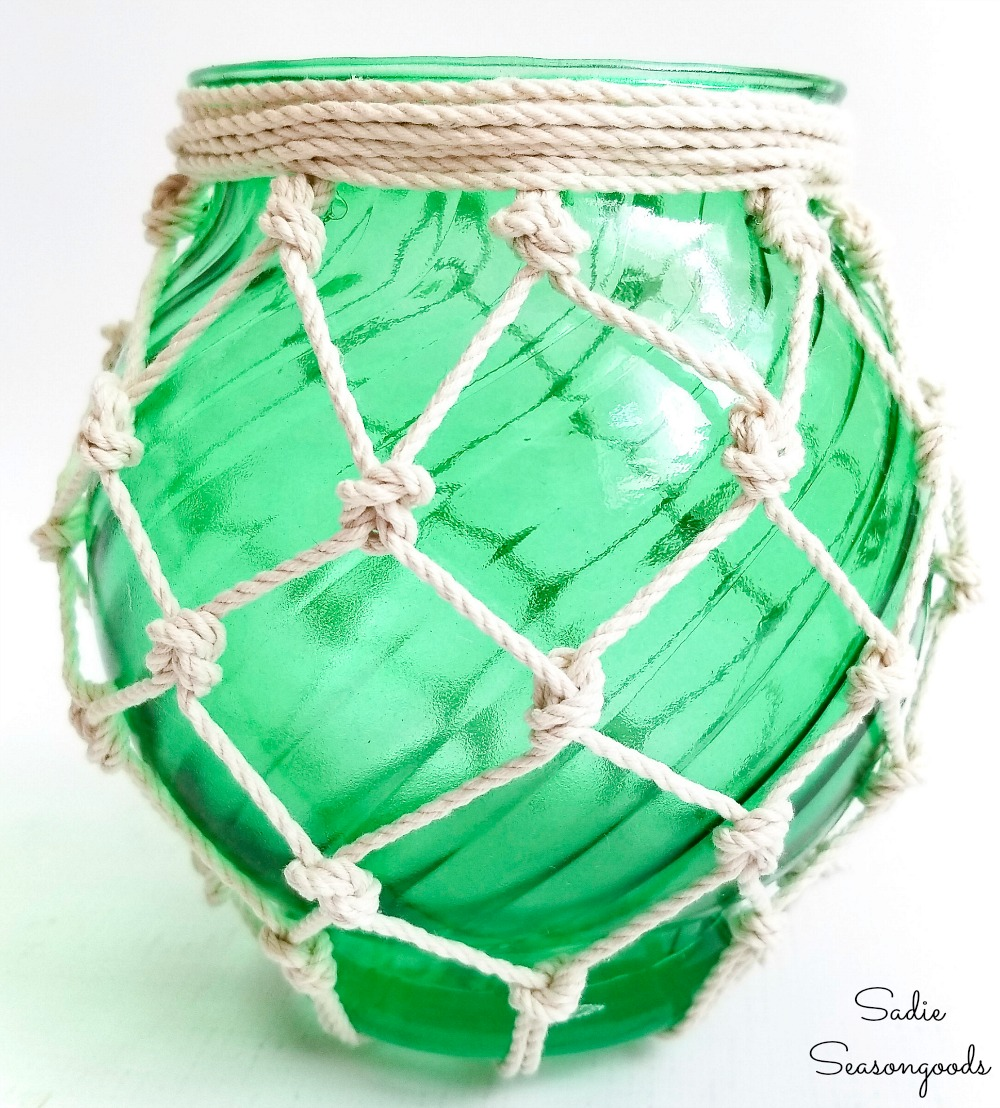 Upcycling a glass vase into a glass buoy for nautical decor