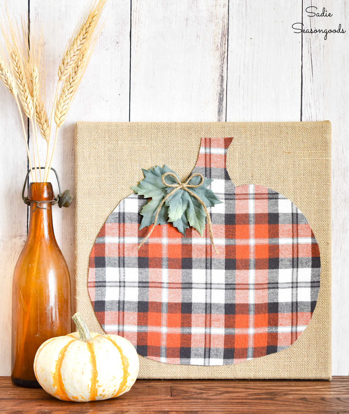pumpkin decor from crafting with flannel