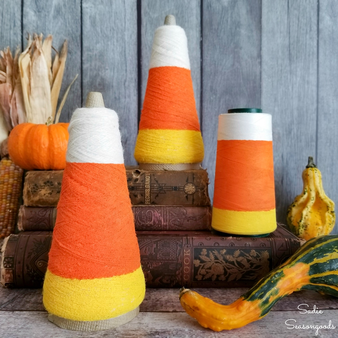Candy Corn Decorations from Thread Cones for Cute Halloween Decor