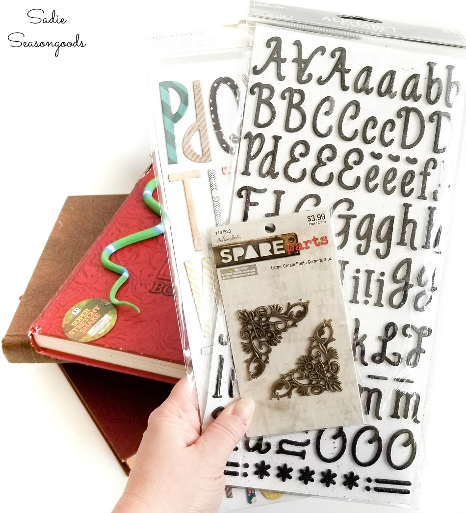 Craft supplies for altered book ideas with old yearbooks