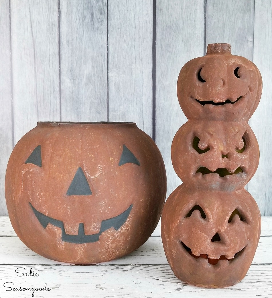 Getting the look of faux rust on plastic jack o lanterns