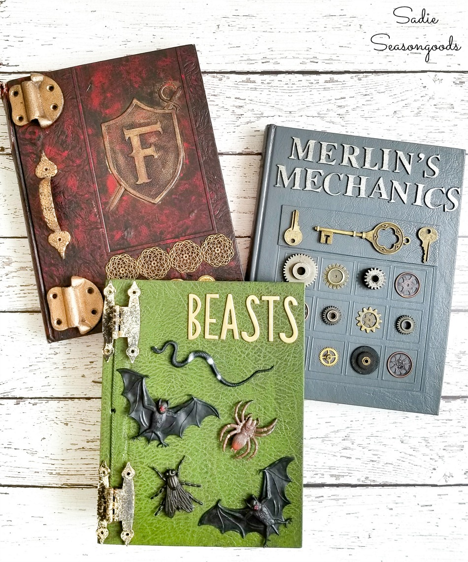 Halloween book decor and DIY spell book