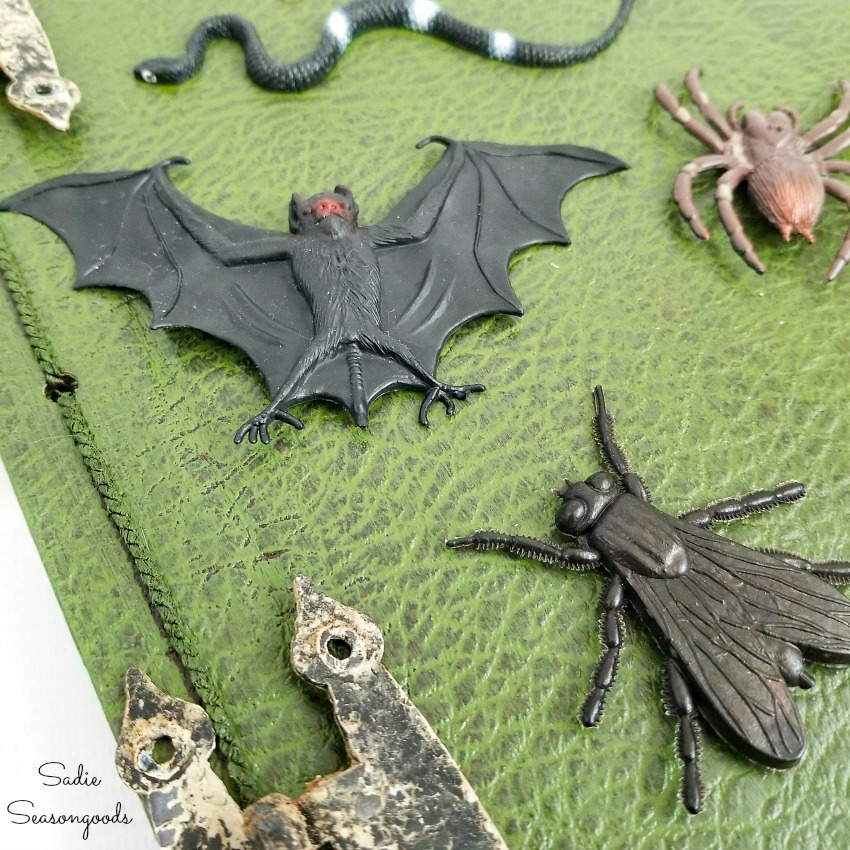 Halloween book decor with rubber bats and snakes
