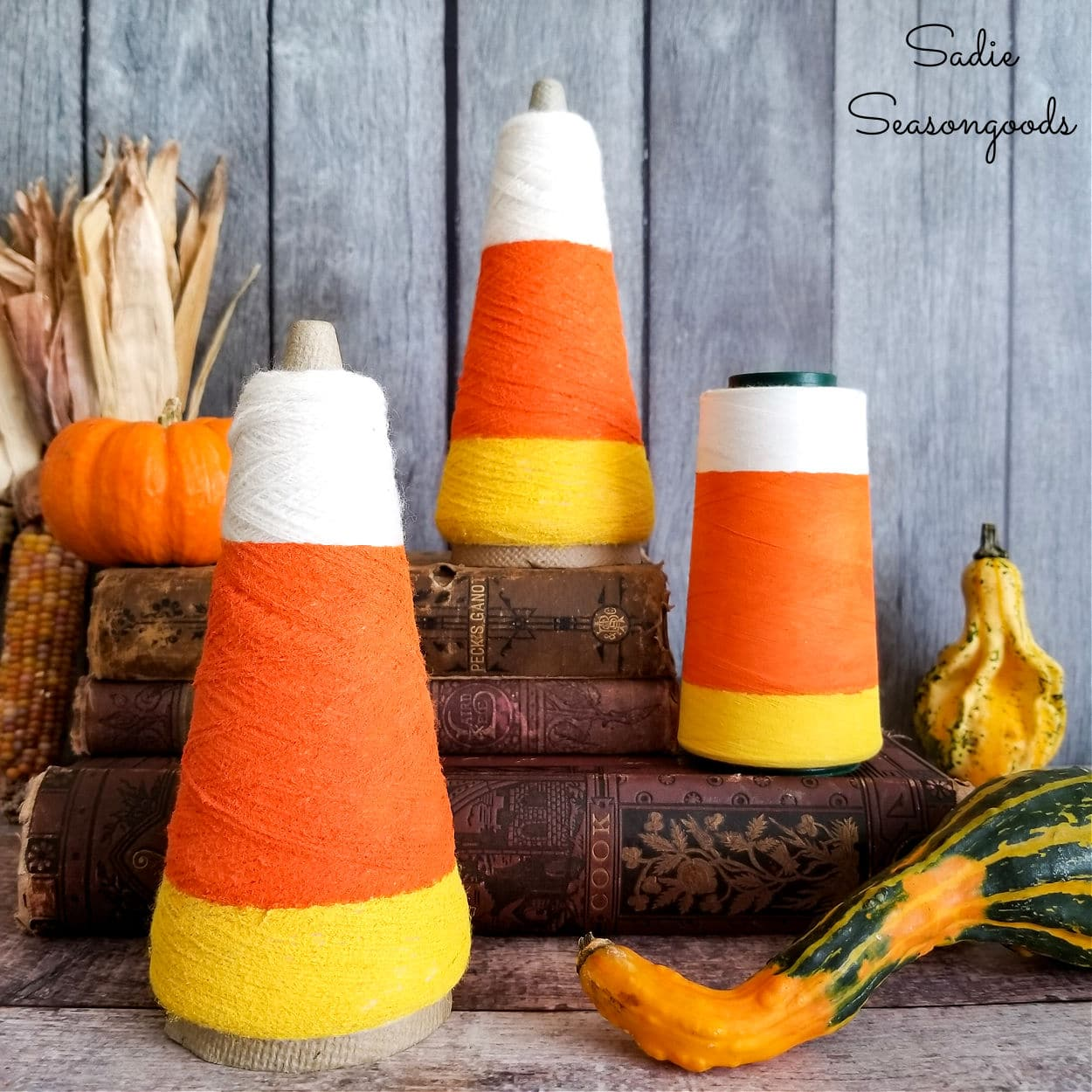Candy Corn Decorations from Thread Cones