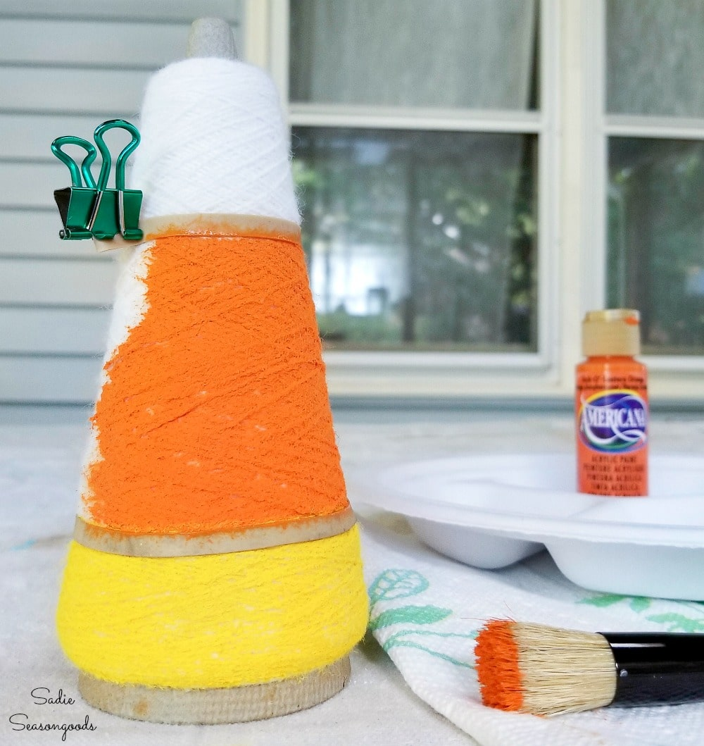 cute candy corn from thread cones