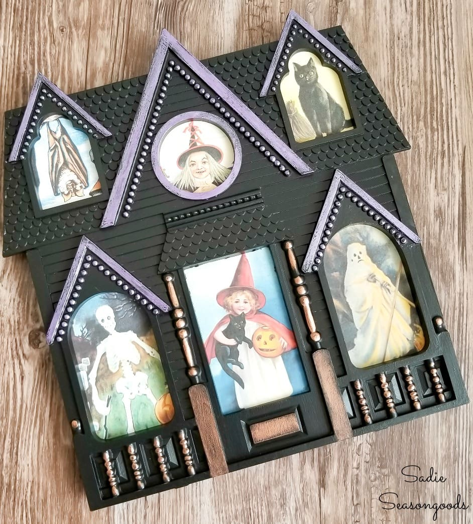 Haunted house decor with Halloween postcards