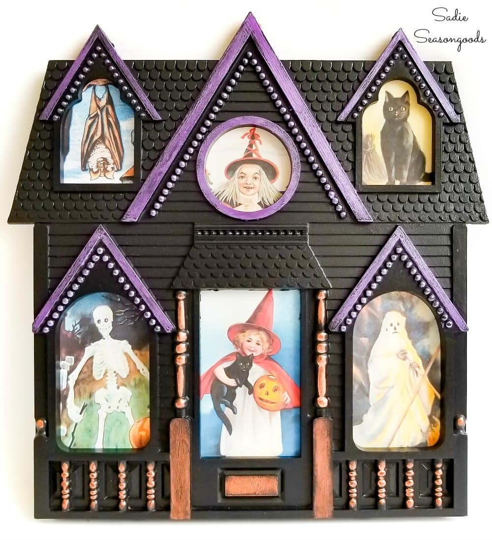 House shaped picture frame as a haunted house for Halloween decor
