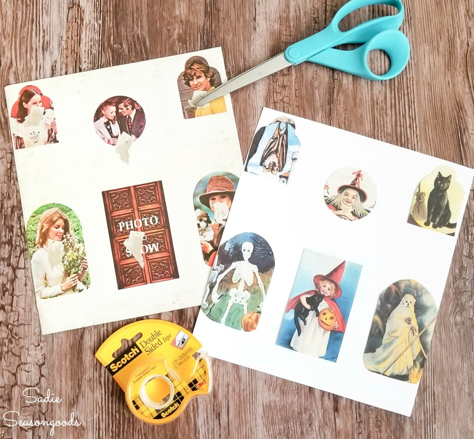 Print outs of vintage Halloween postcards to go in a house shaped picture frame