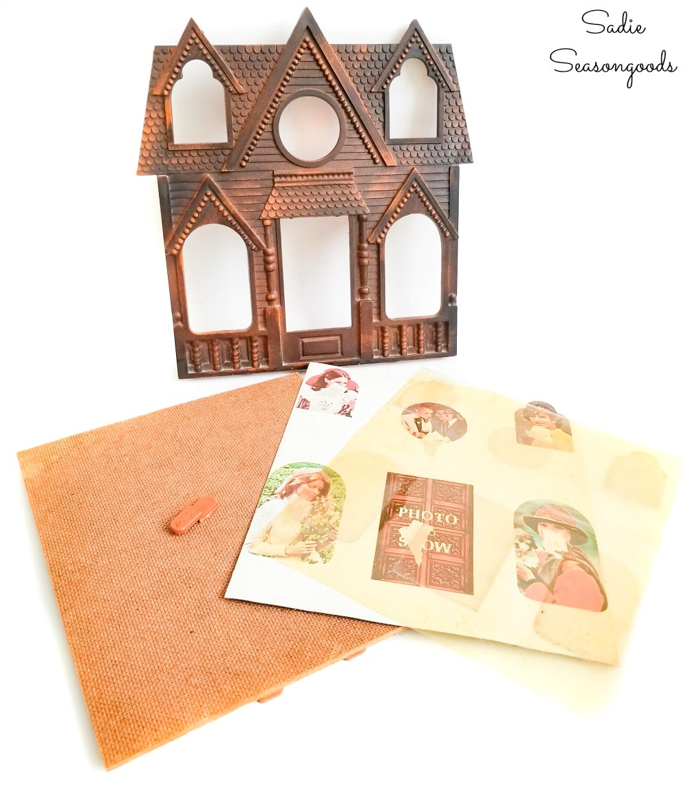 Upcycling a house picture frame into a Halloween house