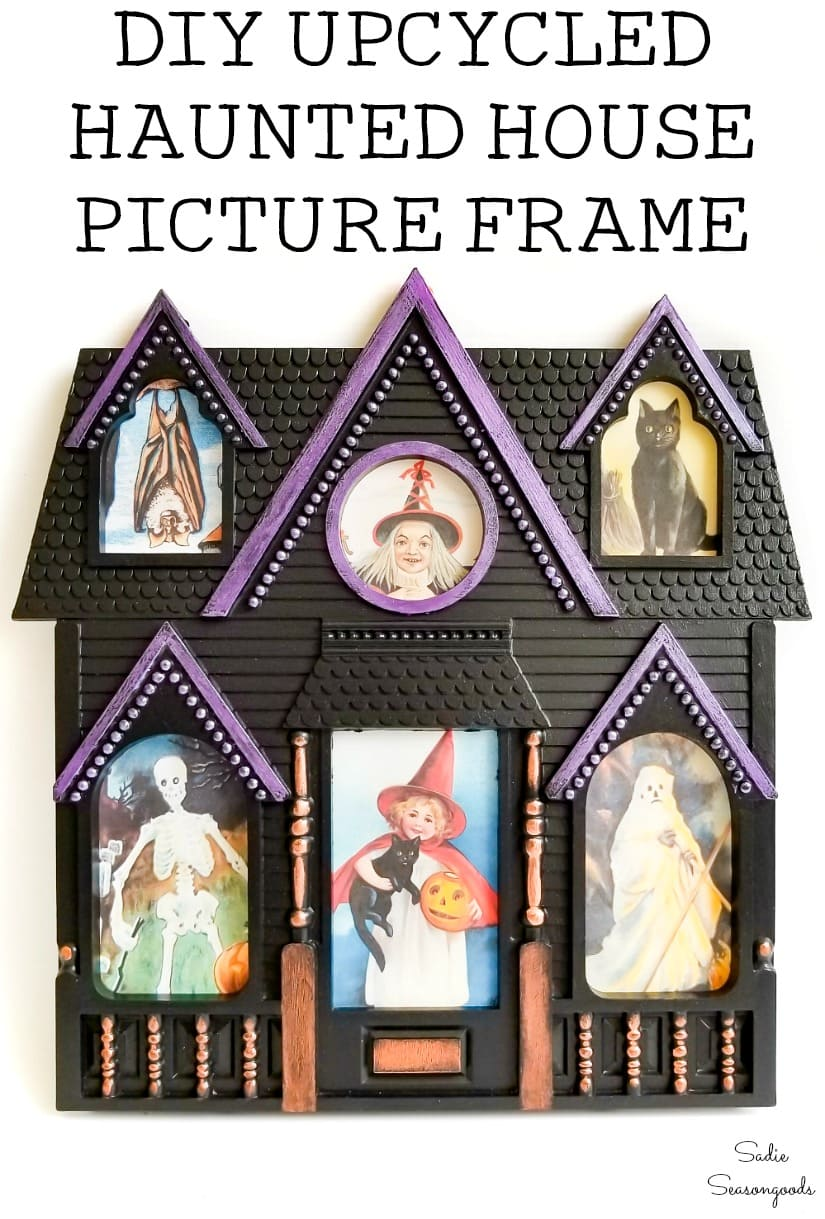 Upcycling a picture frame as a Halloween House