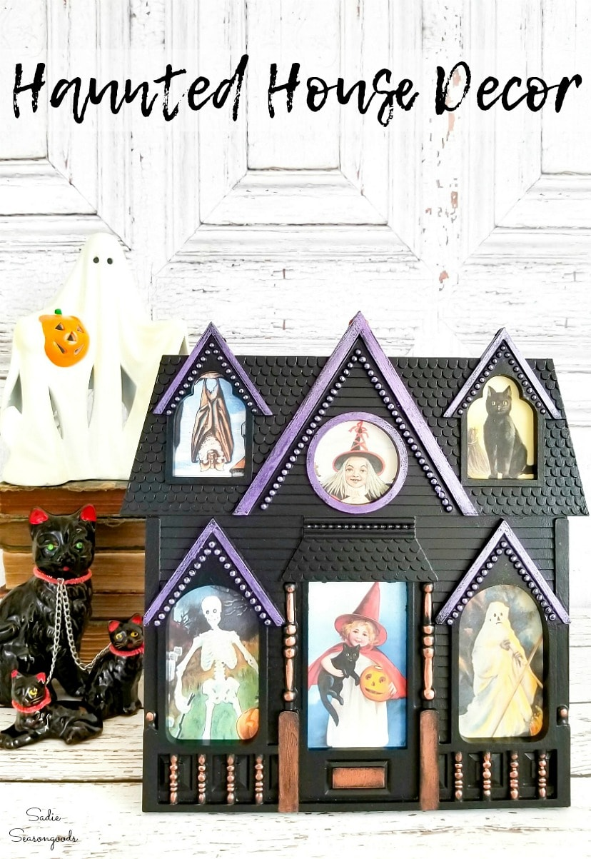 Vintage Halloween postcards in a haunted house picture frame