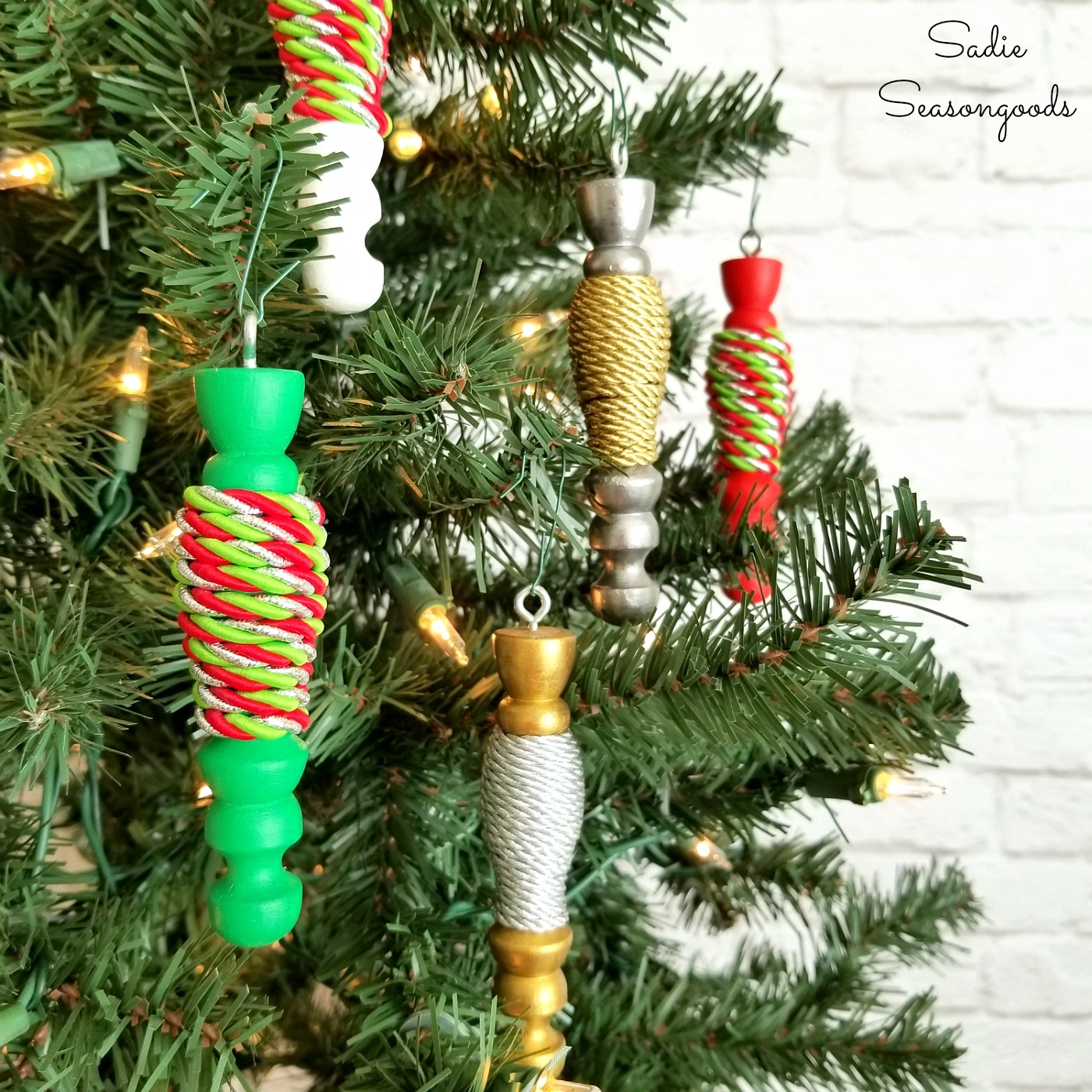 Wooden Spindle Ornaments from an Upcycled Mug Tree