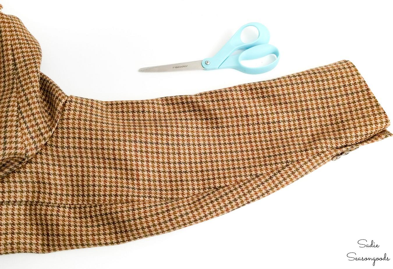 Sleeve of a tweed sport coat