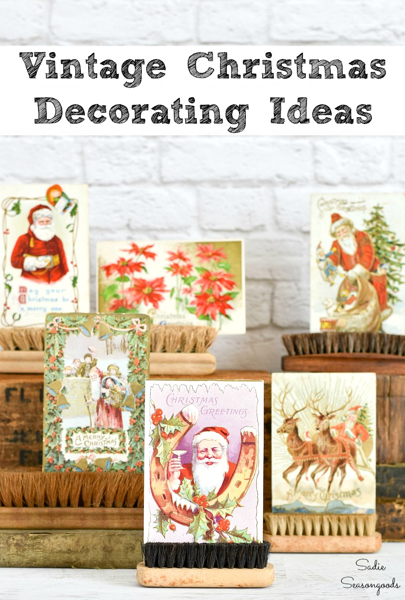 Vintage Christmas decorations and decorating with Christmas postcards or retro holiday decor