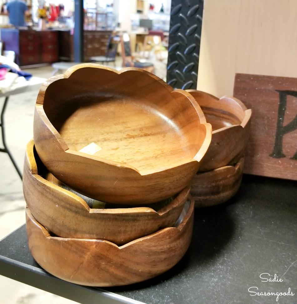 Wood salad bowls at a thrift store