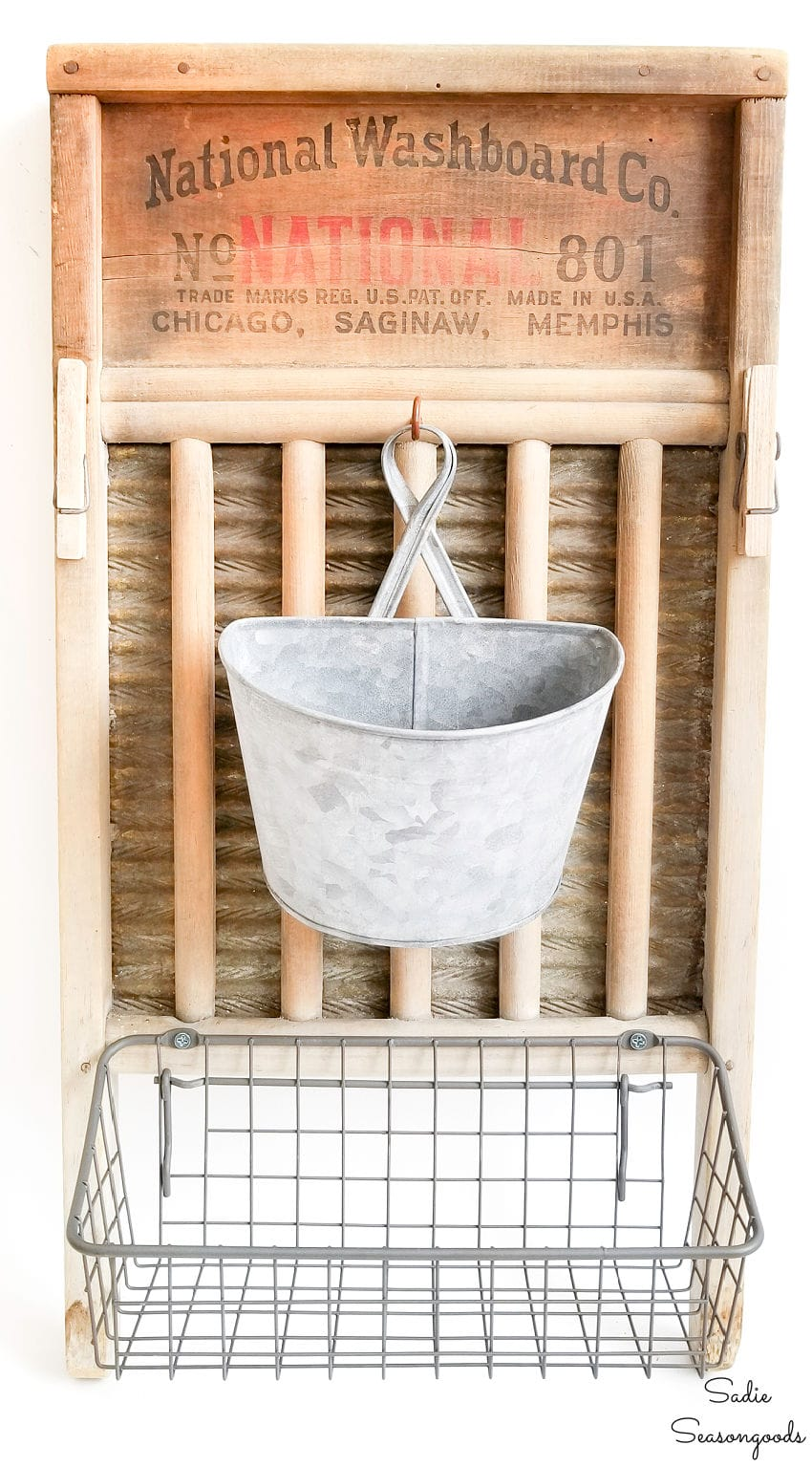 Laundry room wall decor with a washboard