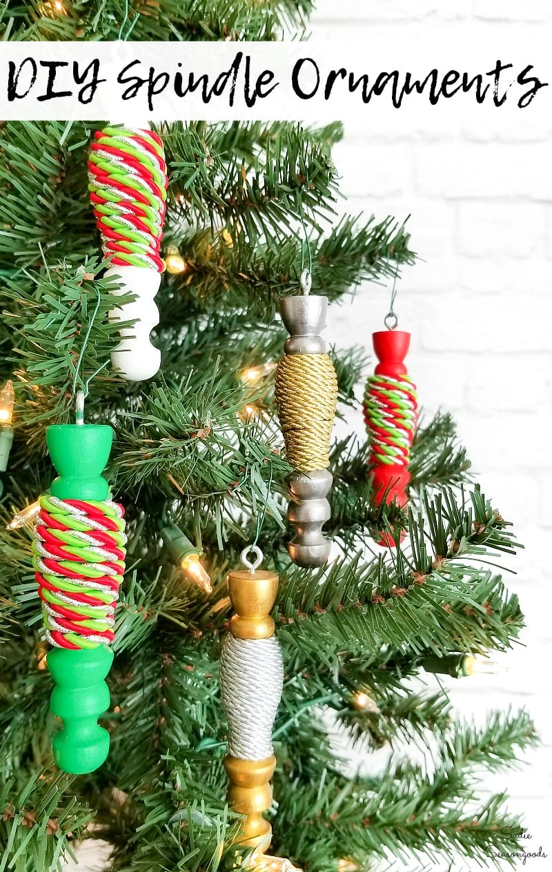 Wood turned Christmas ornaments on a tree