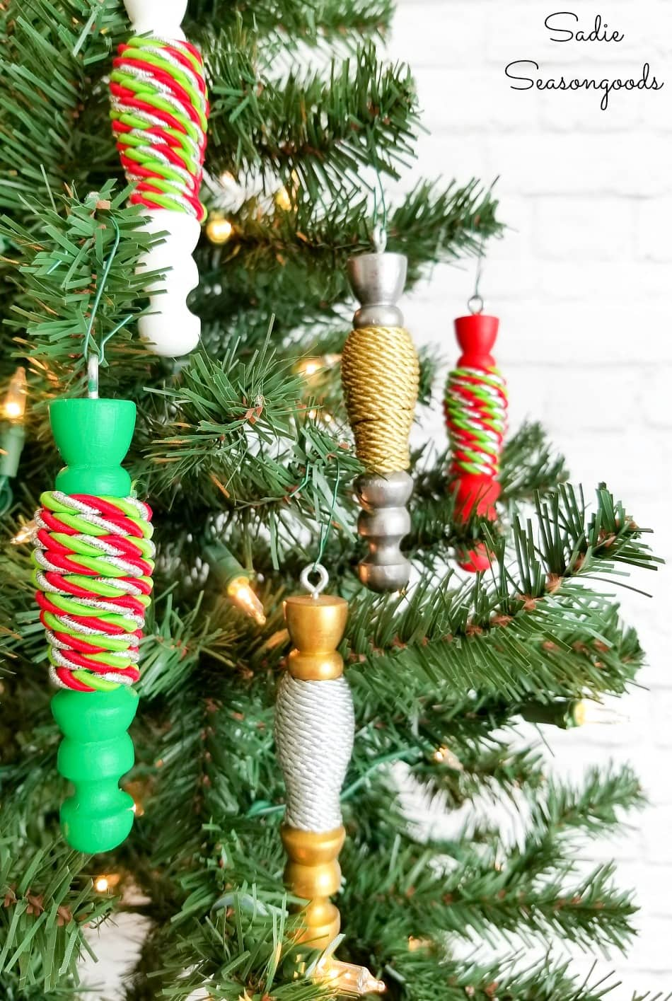 Wooden spindle ornaments on a Christmas tree