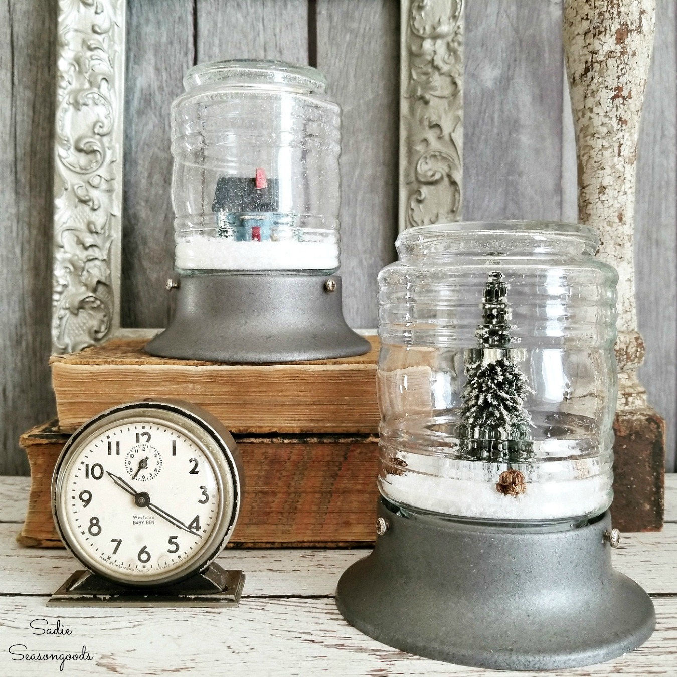 Winter Decorations Inside Industrial Light Fixtures