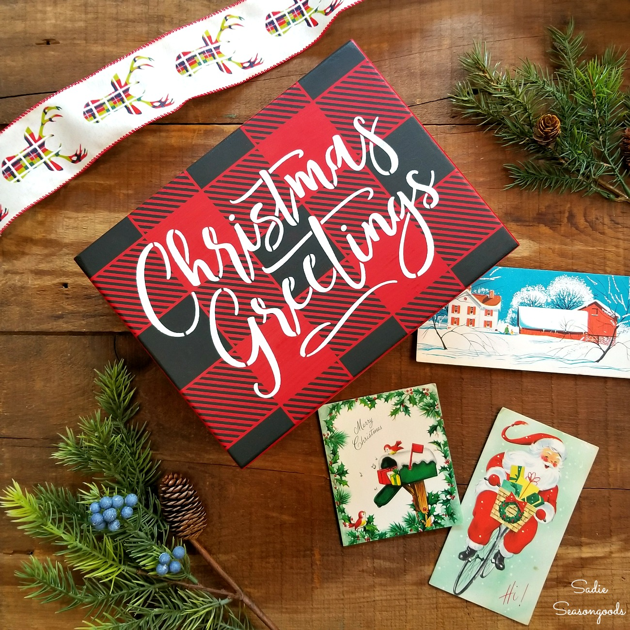 How to upcycle a jewelry box into rustic Christmas decor and Christmas card holder by Sadie Seasongoods / www.sadieseasongoods.com