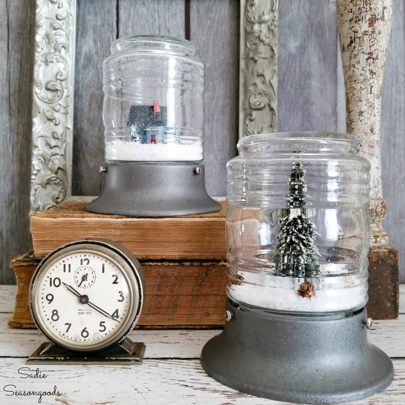 Winter Decorations Inside the Industrial Light Fixtures