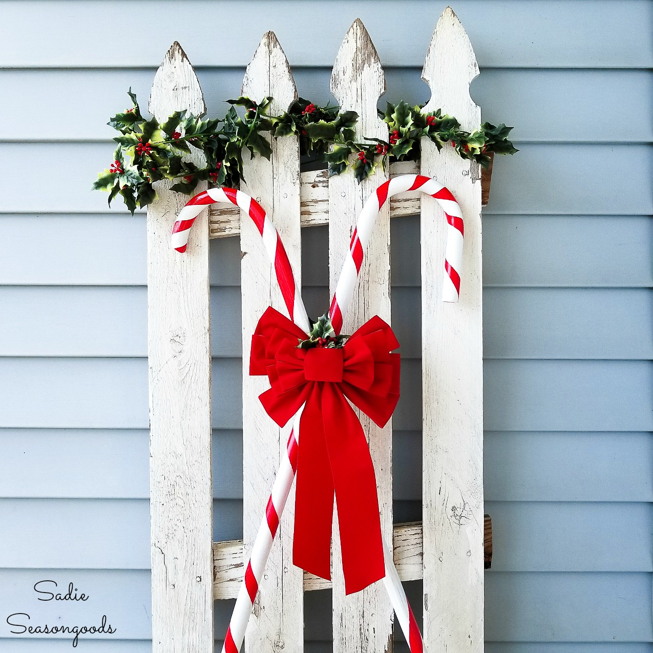 Candy Cane Decorations for Christmas with Wooden Walking Canes