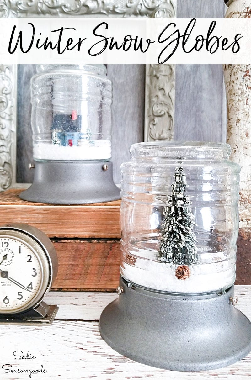 Decorating in January with winter snow globes