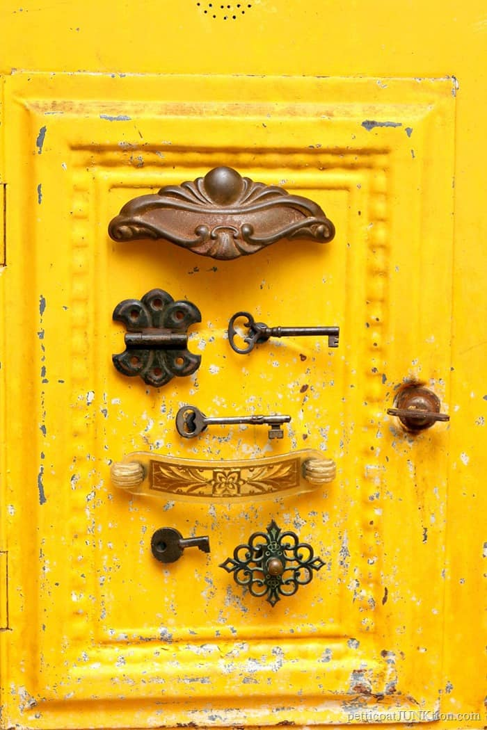 DIY magnets from upcycled vintage keys and hardware by Petticoat Junktion