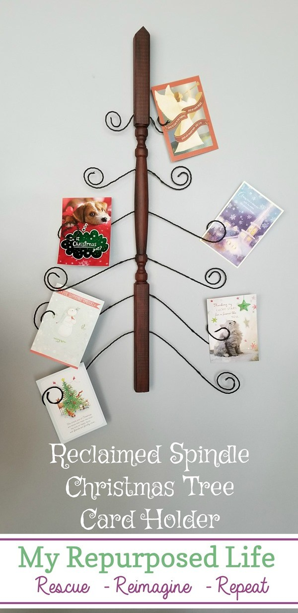 Reclaimed spindle Christmas card holder by My Repurposed Life